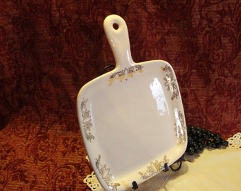 Iva-Lure by Crooksville Pottery Handled Square Serving Plate with Gold Art Deco Transfer Design