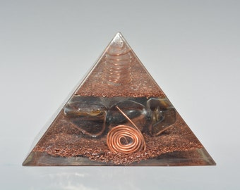 Tiger's Eye Orgonite Crystal Device: Powerful Orgone Energy for Grounding, Abundance & Protection