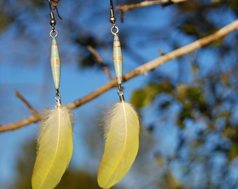 Yellow Feathers with Paper Beads