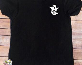 Monogram Halloween Shirt - Ghost Monogram - Ladies Monogram Shirt- Halloween Shirt - Monogram Halloween - Monogram Ghost shirt
