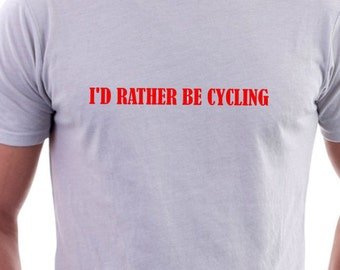 """T-shirt with """"I'd rather be cycling""""  logo"""