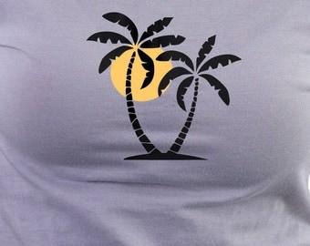 Ladies T-Shirt with Desert Island Sunset print