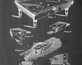 Pool table, billiard table, 1880, print, A4, print, patent, art, illustration, drawing, wall art, wall art, chalkboard