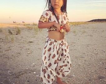 6 Years Harem SET, Frida Block Print Crop Top and Harem Pants, Hippie Toddler Harems, Organic Kids Clothing, Toddler Crop Set