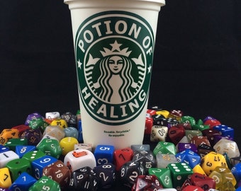 """Dungeons & Dragons inspired """"Potion of Healing"""" Starbucks Travel Cup"""