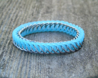 Blue Glow-in-the-Dark Chainmaille Bracelet | Stretchy Chainmaille | Handmade Stainless Steel Chainmaille Jewellery