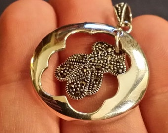 Abstract Marcasite Pendant w/ Sterling Silver Frame