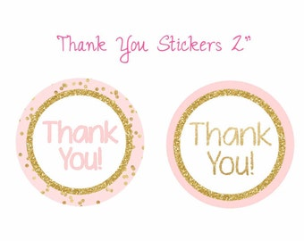 Thank You stickers pink and gold, Thank You tags, pink and gold printable, Thank You favor tags, Digital File.