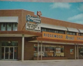 Vintage Postcard Advertising~Old Building Front Postcard~Kansas City, MO~Rexall Drugs~Ridgewood Drugs 1967