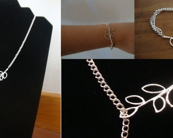 Adornment leaves New Leaf made hand (necklace and bracelet) silver