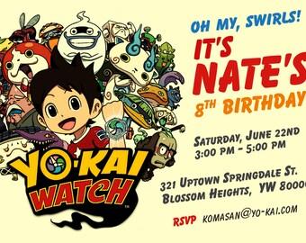 Yo-Kai Watch Oh My Swirls! Birthday Party Invitation - Personalized Digital File by Hulles
