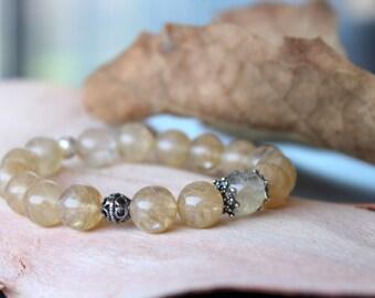 Citrine Sterling Silver Bracelet, November Birthstone Jewelry, Stacking Bracelet,Beaded Citrine Bracelet, Birthday Gift, Gift for her