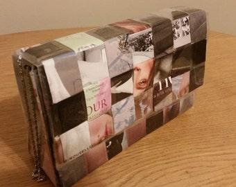 Magazine Woven Clutch Handbag