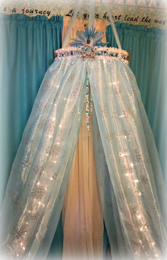 Snow princess ice canopy frozen in time canopy bed canopy snow for How to make a princess bed