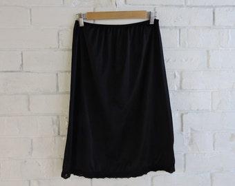 Vintage Black Slip Skirt with Lace Detail