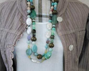Green with Envy Necklace, Single or Multiple Strand Sets, Interchangeable Necklace, Boho necklace, Chunky Necklace, Free Shipping