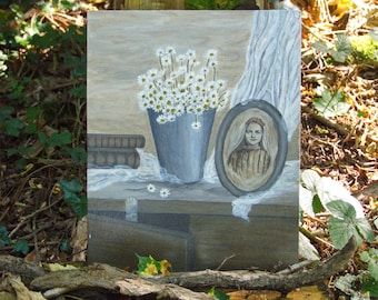 St Therese Little flower painting catholic christian religion- french art on canevas - religious shabby chic gustavien
