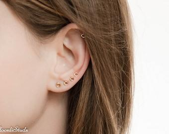 Tiny Stud Earrings set - Helix Stud Earring - Multiple piercing - Circle earings studs set - Tiny earrings studs