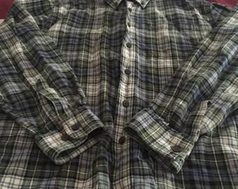LL Bean Long Sleeve Flannel Button Down Men's L