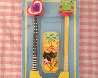 Kawaii Animals pencils & erasers set