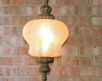 Aged Hollywood Regency Golden Patina on this 70's 3 Arm Chandelier w/ bubble glass working great | Vintage Light Fixture