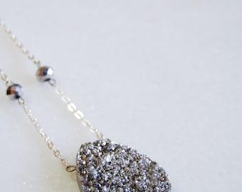 Silver Titanium Druzy Crystal Pendant