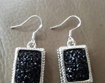 Black Druzy Earrings!