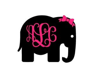 Elephant Monogram Etsy - Elephant monogram car decal