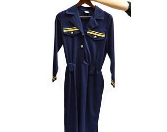 Sailor dress - Midi dress - Long sleeve dress - Navy blue dress - Stretchy waist - Knee lenght dress - Pockets dress - Cotton dress