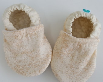 Cream, gold sparkles, Moccasins, baby crib shoes, soft sole