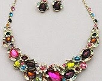Teardrop Stone Glass Necklace Set