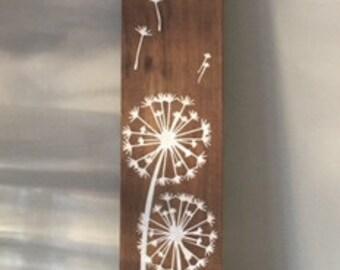 Dandelion Wooden Painted Sign - Paardenbloem Houten Decoratie Bord