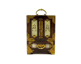 Chinese Jewelry Box with Hand Carved Jade and Engraved Brass Panels