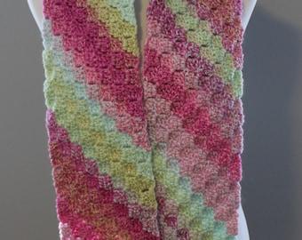Multicolor Stripes Scarf, Crochet Scarf