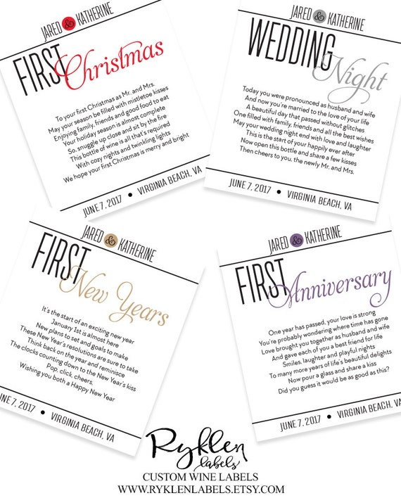 Marriage Milestone Wine Labels Wedding Advices by RyklenLabels