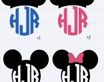 Custom Mickey/Minnie Mouse Monogram Decal