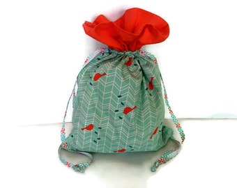 Bag Patil for pastel green lingerie Mint graphic bird