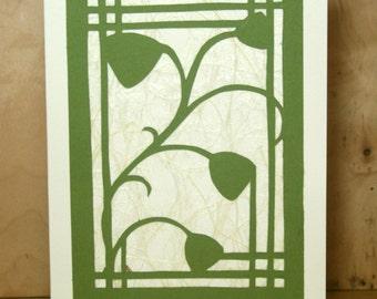 Paper Cut Bell Flower Card Green