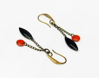 Brass drops earrings, orange and black sequins on hook earrings