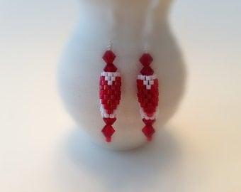 Bead Still My Heart Earrings - Red