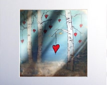Mother's Day encaustic painting print matted valentine  Heart Woods #160204p also available as a card or on canvas