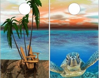 Beach Scene Sea Turtle LAMINATED Cornhole Wrap Bag Toss Decal Baggo Skin Sticker Wraps