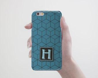 Blue Iphone Case Monogram Iphone 6 Case Iphone 6s Case Initial Iphone 6 Plus Case Geometric Iphone 6S Plus Case Samsung s6 Case Galaxy s5