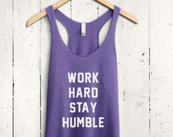 Work Hard Stay Humble Tank Top, Fitness Apparel, Workout Apparel, Cute Gym Shirt, Cool Workout Tank Top, Women Workout Top