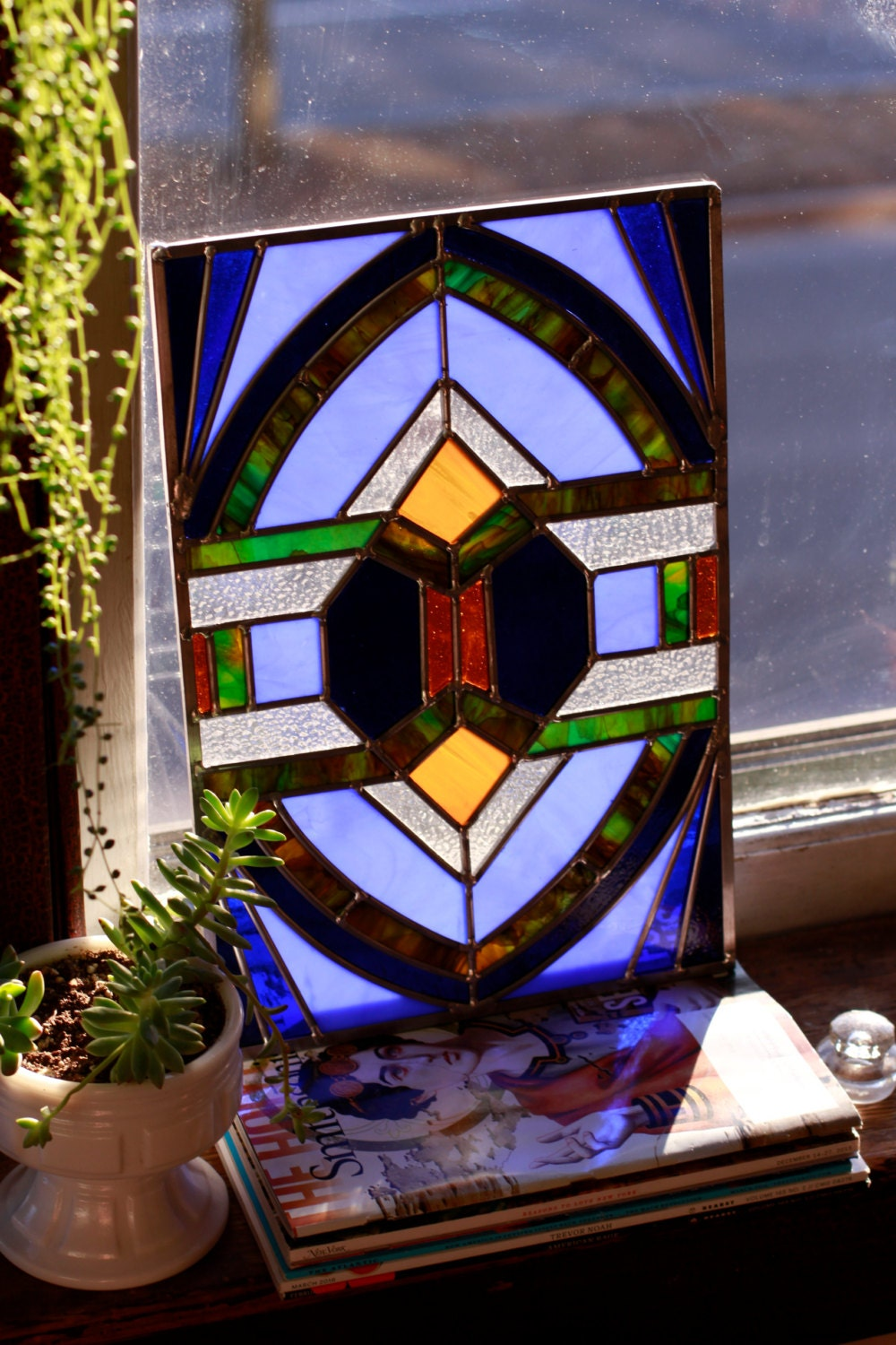 Large art deco stained glass window panel blue amber for Art deco glass windows