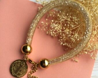 Beautiful Gold Stardust Bracelet, Sparkling Gold Bracelet, Stardust bracelet Swarovski inspired