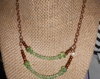 Sparkly Green and Copper Necklace