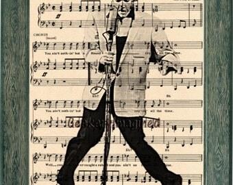 Elvis Presley art, Elvis Presley music sheet art, Elvis Presley print, Elvis Presley music sheet print, office decor, wall art