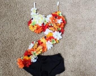Orange Red White Flower Butterfly RAVE Summer Festival Outfit