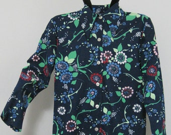 Blue Floral Collared Blouse, Fits like a Small, Vintage
